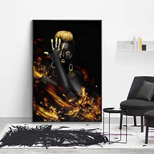 AdoDecor Afrikanische Schwarze Frau Plakat Mädchen Bild Leinwand Malerei Wandkunst für Wohnzimmer Dekoration Poster...