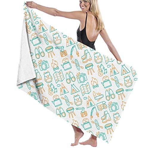 Toallas de baño para mochila escolar con diseño de mapa, 80 x 130 cm