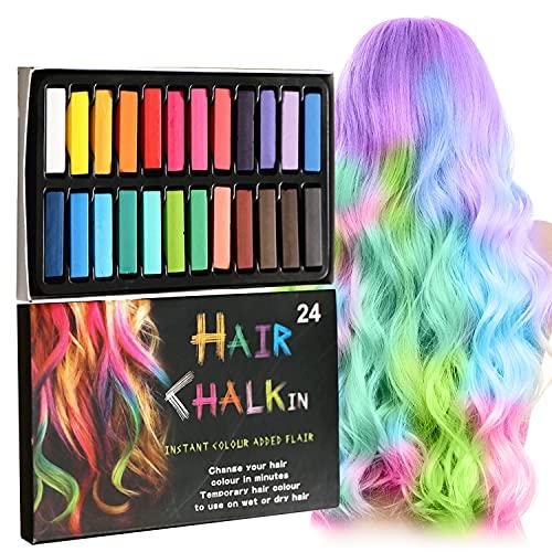 Thnkstaps Hair Chalk Comb 24 Colores Tiza para el Cabello Lavables Tinte para Cabello Tinte Temporal de Tiza Para el Pelo para el Cabello Regalos para niñas Para Carnaval Fiesta Navidad Halloween