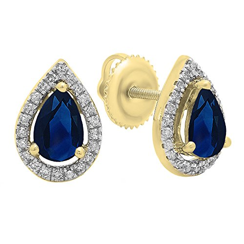 Dazzlingrock Collection 14K 6X4 MM Each Pear Lab Created Blue Sapphire & Round Diamond Ladies Halo Teardrop Stud Earrings, Yellow Gold