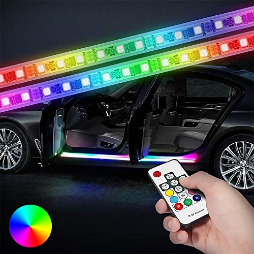 HOLDCY Flexible Car LED Strip Lights - 2pcs 70.86 inches RGB Running Board Lights - Turn Signal Side Marker & Courtesy Light Bar Strips,Wireless Remote Control with Car Charger - for All Automobile