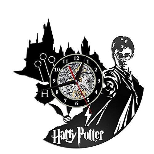 YQOQY Harry Magi Reloj de Pared LED Discos de Vinilo Decoración de Pared Único Moderno Mudo Sin Marco 3D Cuarzo 12 Pulgadas 7 Luces LED de Color
