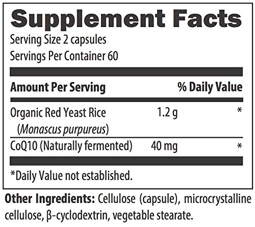 Designs for Health RYR Synergy - Red Yeast Rice Supplement - 1200mg Organic Red Yeast Rice + CoQ10 to Support Cardiovascular Health + Maintenance of Lipid Levels in Normal Range (120 Capsules)
