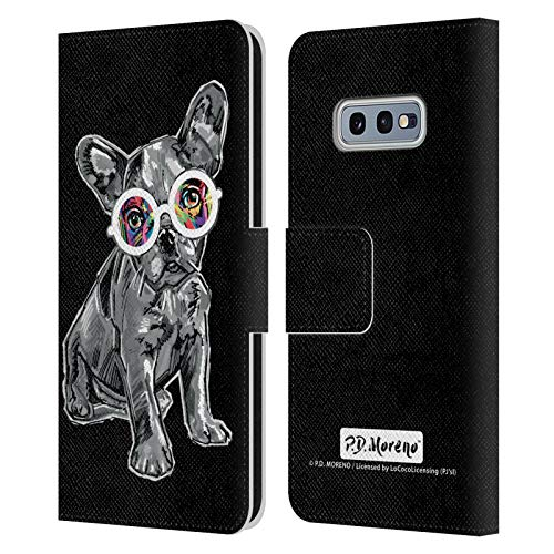 Head Case Designs Officially Licensed P.D. Moreno French Bulldog Black and White Dogs Leather Book Wallet Case Cover Compatible with Samsung Galaxy S10e