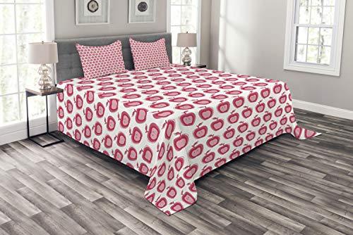 ABAKUHAUS Apfel Tagesdecke Set, Doodle rosa Mädchen-Muster, Set mit Kissenbezügen Weicher Stoff, für Doppelbetten 220 x 220 cm, Dunkle Koralle Hellrosa Weiß
