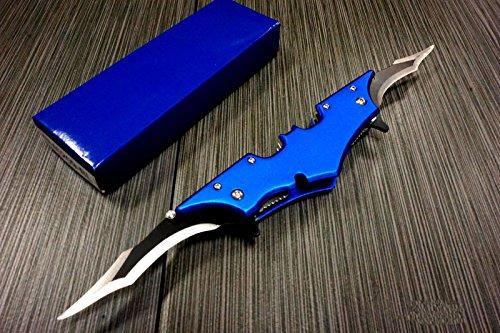 Batman Dark Knight Bat Spring Assisted Open Folding Double Blade Dual Twin 5 Colors Pocket Knife Tactical Belt Clip Desert Digi Camo Silver Blue Red Knives (Blue)