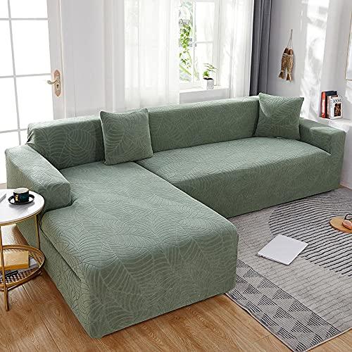 Fundas de sofá Impermeables Hojas de Color sólido Gran Funda de sofá Cama de Jacquard Protector de Muebles con Elasticidad para 3 Fundas de Almohada-Verde Hierba_Posición Doble: 145-185cm