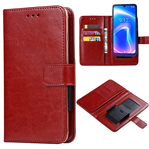 Ranyi for NUU Mobile X6 Plus Case, Universal PU Leather Wallet Case with Credit Card Holder Slots Movable Clip Folio Magnetic Flip Wallet Protective Case for NUU Mobile X6 Plus -Brown