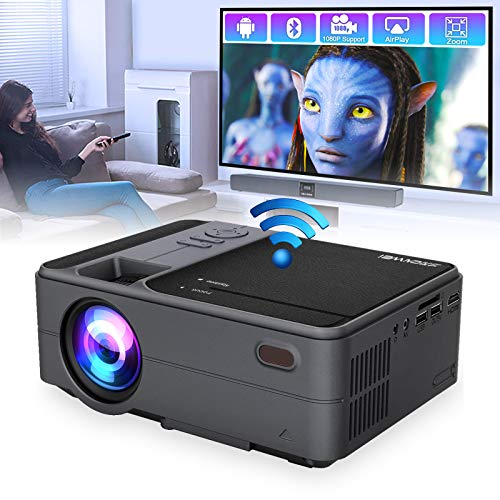 Portable Bluetooth Projector, Wireless WiFi Theater Projector for Laptop DVD Player TV Stick Computer, Smart LED Projector Support Full HD 1080p HDMI USB, Ideal for Home Entertainment Video Gaming