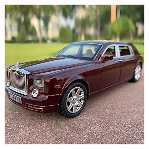 Diecast Model Car 1:24 para rollos para Royce para Phantom Diecast Aleación de la aleación de Diecast Pull Back Light Coche Modelo Craft Exhibits Niños Juguete de regalo (Color: Rojo en caja) wmpa