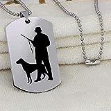 Aluyouqi Co.,ltd Collar Acero Inoxidable Cazador Perro Caza Colgante Collar Animal Perro y Cazador Collar