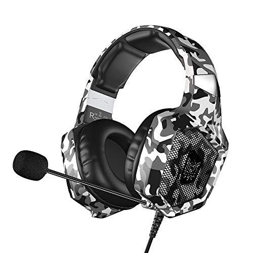 VersionTECH. Auriculares Gaming Cascos PS4 con Microfono, Diadema Ajustable, Bass OverEar 3,5mm Jack, Luz LED, Control de Volumen, Bajo Ruido para PS4/Xbox One/Nintendo Switch/PC (Camuflaje Blanca)