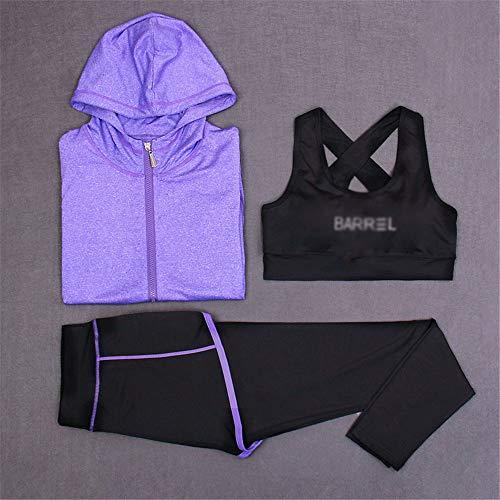 Trajes deportivos para mujer de 3 piezas, sujetador de yoga al aire libre, traje deportivo de secado rápido, multicolor (color: C, talla: XL)