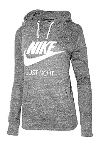 Nike Womens Gym Vintage Pullover Hoodie Carbon Heather/Sail 823701 091 (XL)