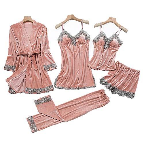 WANC Conjunto De Pijamas De Pijamas De Encaje Sexy Ropa Interior para Mujer Conjunto De Dormir De Terciopelo Kimono Bata De Terciopelo Pijamas De Servicio A Domicilio