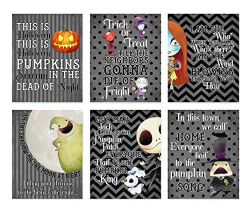 Nightmare Before Christmas Themed Character Wall Art Decor (Set of Six) Halloween Song Prints