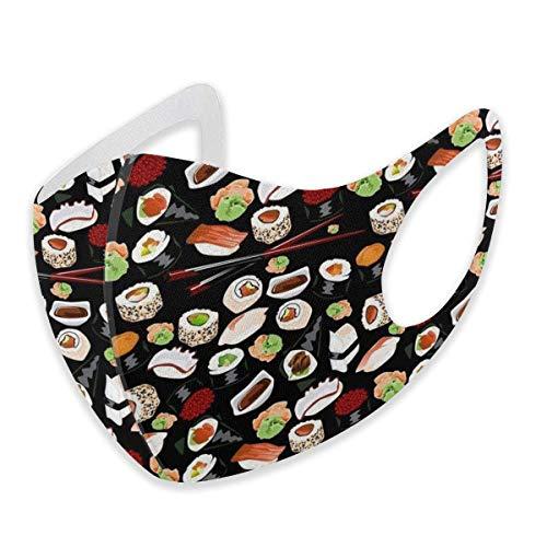 Unisex Ohrschlaufen-Gesichtsschutz – Anti-Staub, warm, Radfahren, Sicherheit, Mundschutz, verstellbar, japanisches Sushi schwarz