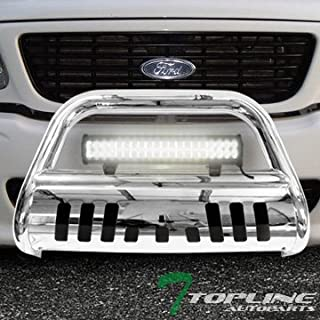 Topline Autopart Polished Stainless Steel Bull Bar Brush Push Bumper Grill Grille Guard With Skid Plate + 120W CREE LED Fog Light For 97-03 Ford F150 / F250 / 04 Heritage / 97-02 Expedition