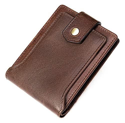 Cjuncc Wallet,Ultra-Thin Men's Genuine Leather Short Wallet-RFID Blocking Coin Purse Large-Capacity Card Case, 12×9×1cm