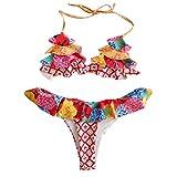 ZOOMY Bikini Sexy para Mujer Set Halter Ruffles Traje de baño brasileño Boho Floral Beachwear - 03# S