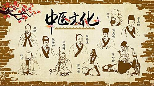 Muzemum TCM Kultur Hintergrundwand TV Hintergrund Tapeten 3D Wand Papers Wohnzimmer Tapete Wandbild Schlafzimmer Dekorative -56.69 x 39.37 inch/144cm x 100cm