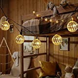 Cadena de luces LED marroquíes con bolas de estilo oriental, 20 unidades, 2,9 m, decoración marroquí, funciona con pilas, decoración para habitaciones, terrazas, ventanas, jardín