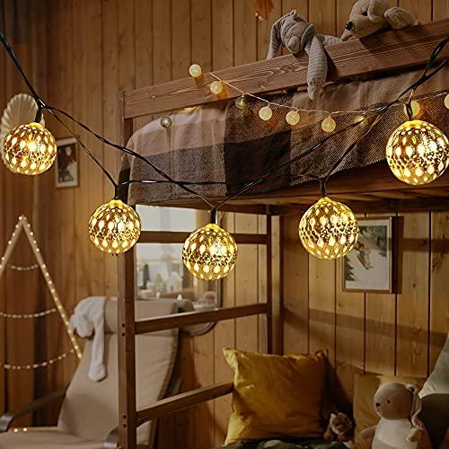 Marokkanischen Kugeln, LED Lichterkette, Orientalische silberne Lichterkette 20LEDs 2.9M Innen, batteriebetrieben Deko Lichter für Zimmer Terrasse Fenster Garten Warmweiß