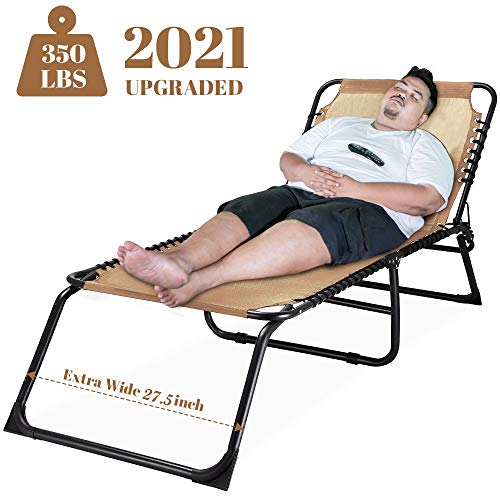 Outdoor Folding Lounge Chaise Super Wide 27.5 inch XL Size Sunbathing Recliner Lay Flat Sleeping Bed Cot Lounger (Beige)