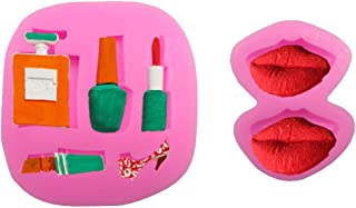 Perfume Nail Polish Lipstick High Heel Fondant Baking Mold Lips Jelly Pudding Candy Making Silicone Mold for Cake Decorating Tool Chocolate Cookie Dessert Cupcake Topper