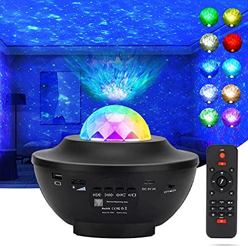 LEDSternenhimmelProjektor,Lachesis Sternprojektor Nachtlicht Lampe Ozeanwellen ProjektormitFernbedienung/Bluetooth/3HelligkeitsstufenfürKinder Erwachsene Ostern Party Schlafzimmer