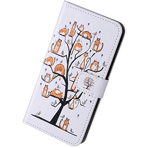 Herbests Kompatibel mit Samsung Galaxy A10 Handyhülle Brieftasche Hülle Bunt Motiv Muster Leder Schutzhülle Flip Case Handytasche Lederhülle Klapphülle Magnetisch Kartenfach,Tier Baum