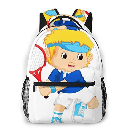 Mochila Escolar Niño Chico Chica, Play Boy Jugando Tenis Casual Mochilas Portatil 14 Pulgadas para Juveniles Adolescentes