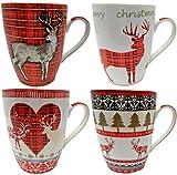 Set von 4 Feines Porzellan Weihnachten Becher, Rentier Design