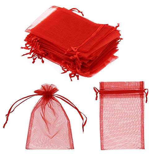 """SumDirect 100Pcs 4""""x6"""" Sheer Drawstring Organza Jewelry Pouches Wedding Party Christmas Favor Gift Bags (Red)"""