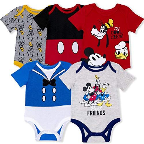 Disney - Confezione da 5 tutine per neonato con Topolino, Donald, Pippo per neonato e neonato - - 6 Mesi