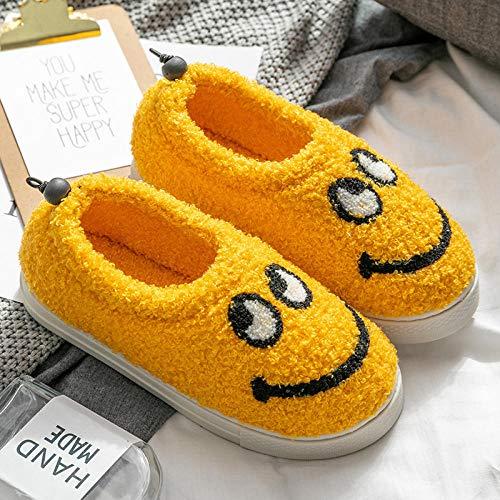 Nwarmsouth Zapatillas de casa Antideslizantes para Mujer,Zapatillas de Piel de Invierno para el hogar, cálidos Zapatos de algodón de Felpa-Amarillo_34-35,Caliente Peluche Cómodo Zapatos Memory Foam