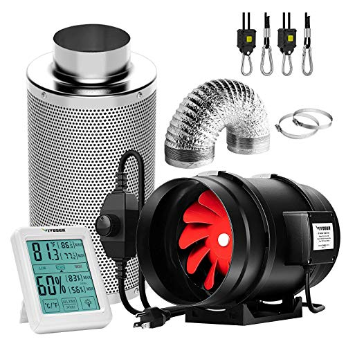 VIVOSUN 8 Inch 720 CFM Inline Fan with Speed Controller, 8 Inch Carbon Filter and 25 Feet of Ducting, Temperature Humidity Monitor for Grow Tent Ventilation