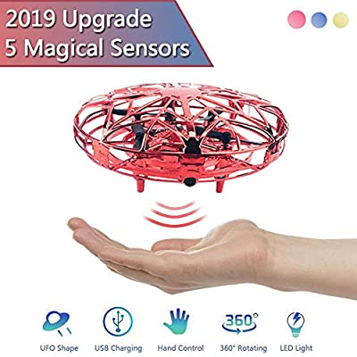 Ceepko 2019 Newly Upgraded UFO Flying Toys Drones for Kids, Mini Drone Hand Controlled Flying Ball Drone Toys with 2 Speed & LED Light for, Boys and Girls, Xmas,Birthday Toys Gifts