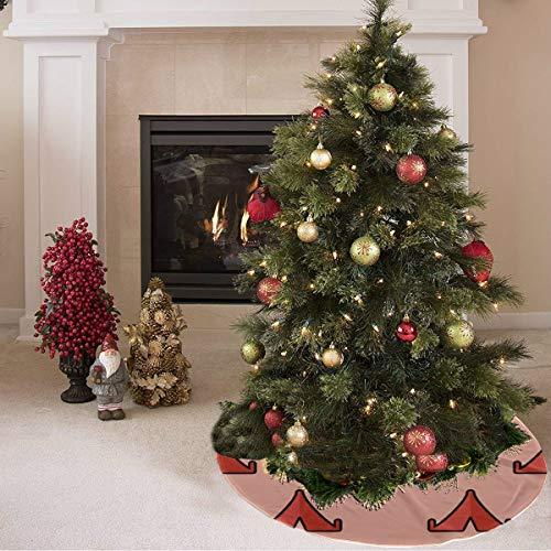 Falda de árbol de Navidad Hermosa tienda de herramientas para el hogar móvil Tienda de campaña Falda de árbol de Navidad Poliéster Niños Falda de árbol de Navidad Alfombra para fiesta Decora