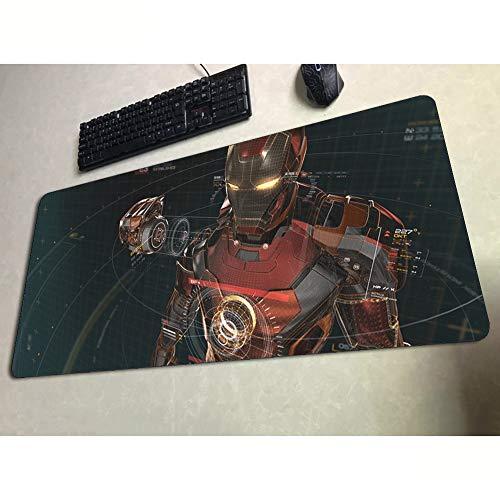 Marvel Stark Iron Man Gaming Mouse Pad Tabelle Matte, Großformatige Anime Extended Keyboard Pad, rutschfeste Gummiunterseite Und Wasserfest Oberfläche (Farbe : F, Size : 800X300X2mm)