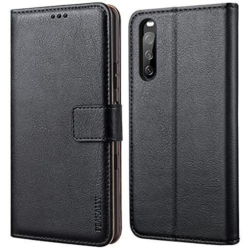 Peakally Kompatibel mit Sony Xperia 10 III Hülle, Leder Tasche Flip Case [Standfunktion] [Kartenfächern] PU-Leder Schutzhülle Brieftasche Handyhülle für Sony Xperia 10 III-Schwarz