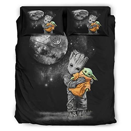 WellWellWell Baby Groot abrazado Yoda 4 piezas ropa de cama suave juego...