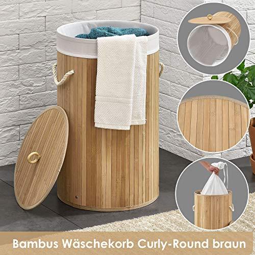 Juskys Bambus Wäschekorb Curly-Round mit Deckel & Stoff Wäschesack - 55 Liter Volumen – Wäschesammler mit 1 Fach - 60 cm hoch – rund – Natur