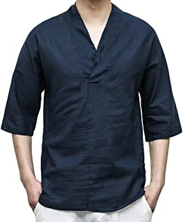 NIUQI Men Linen Patchwork Seven-Minute Sleeve Solid Color Loose V Neck Blouse T Shirt