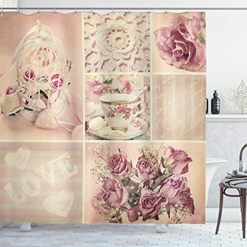 """Ambesonne Shabby Flora Shower Curtain, Grandmother Mothers Day Vintage Themed Lace Cage Cups Flowers, Cloth Fabric Bathroom Decor Set with Hooks, 70"""" Long, Lilac Pink"""