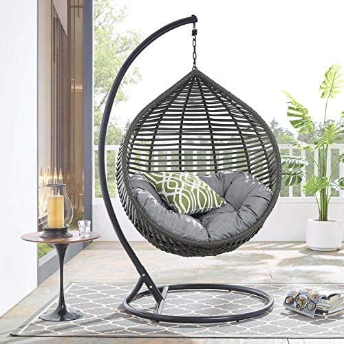 Modway Garner Outdoor Patio Wicker Rattan Teardrop Swing Chair in Gray Gray product image