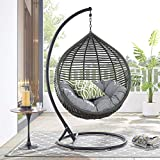 Modway Garner Outdoor Patio Wicker Rattan Teardrop Swing Chair in Gray Gray