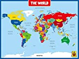 UNCLE WU World Map Posters for Kids Wall -Learning World Wall Posters for Classroom, Education, Back to School Resources -Laminated - 18 x 24 inch