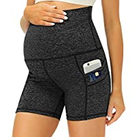 Ehpow Womens Maternity Athletic Yoga Workout Shorts with Pockets