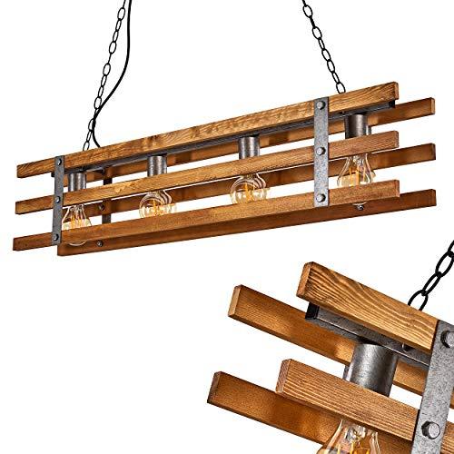 Pendelleuchte Mallard, Hängelampe aus Holz/Metall in Braun/Silber, 4-flammig, 4 x E27 max. 28 Watt, Höhe max. 152,5 cm, längliche Hängeleuchte im Retro/Vintage-Desgin, LED geeignet